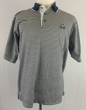 PGA National Golf Polo Shirt Cutter & Buck Striped Size Large Blue White Yellow