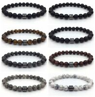 Men Women Fashion Simple Charm Bracelets Flash Stone Lava Tiger Eye 8mm Stone