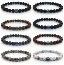 Men Women Fashion Simple Charm Bracelets Flash Stone Lava Tiger Eye 8mm Stone