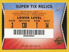 PATRIOTS DEION BRANCH RELIC SUPER BOWL TICKET 2005 TOPPS SUPER TIX NEW ENGLAND