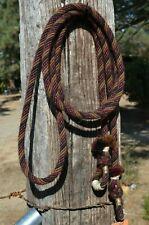 """1/2"""" Alpaca Hair Loop / Roping / Trail Reins 6 Str x 10 ft- Brown/Burgundy/Black"""
