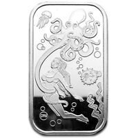 Octopus Aqua Sexy Babe Proof Like 1 oz .999 Fine Silver Art Bar #15 of 40 Minted