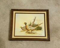 VINTAGE R. SMITH OIL ON CANVAS PAINTING. SIGNED & FRAMED OF TWO QUAILS IN BRUSH.