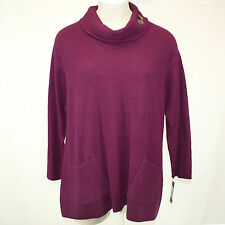 NWT Margaret Winters Crunchy Cotton Long Cowl Neck Sweater Blouse Elderberry 3X