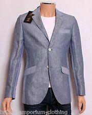 Holland Esquire Blue Linen Herringbone HAND CUSTOMISED Panelled Jacket UK36 IT46