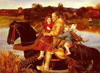 Oil painting John Everett Millais - Past Dreams father & children on red horse