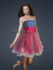 PUFFY MULTI COLOR SKIRT BEADED PARTY/COCKTAIL SHORT DRESS; PINK & BLUE AU14/US12