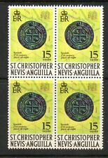 "St Kitts & nevis 1970 SG214 ""Piece of eight "" unmounted mint block 4 stamps"