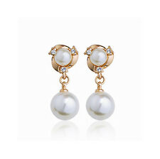 Top Quality 18 k Gold Plated with White Pearls Drop Earrings Bridal E385