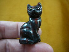 (Y-CAT-SIC-582) little red gray baby KITTY CAT kitten GEMSTONE carving figurine