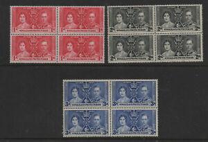 Somaliland 1937 Coronation unmounted mint MNH set as blocks of 4 Stamps