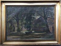 Impressionist Niels Holbak 1884-1954 Alter Hof mit Bäumen Dänemark 39 x 52 cm