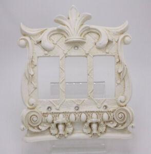 Composite 3D Antique Style Triple White Dimmer Light Switch Plate Fleur de Lis