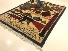 GENUINE AFGHAN RARE WAR RUG or Wall Hanging Hand knotted Wool Unique Tribal Art