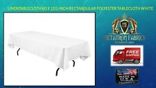 LinenTablecloth 60 x 102-Inch Rectangular Polyester Tablecloth White (6 PCS)