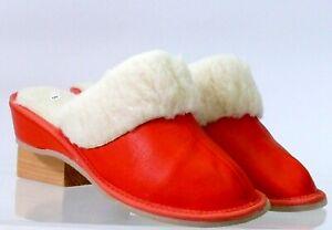 Ladies sheepskin mule style slippers slip-on hard sole