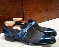 Handmade Men's Blue Leather Gray Suede Monk Strap Cap Toe Dress/Formal Shoes