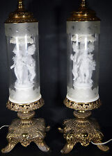 "Beautiful 40"" Vintage Electric Lamps Cut Glass Porcelain Cherubs Gilded Bases"