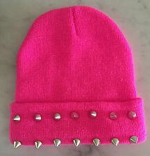Silver Rivet Pink  Girls Womens Warm Beanie