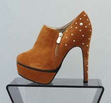 Women Camel Zip Booties High Heels Stiletto Shoes Platform Ankle Boots UK Size 4