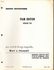 BELL & HOWELL SERVICE MANUAL & PARTS LIST: 199 FILM EDITOR - 1963