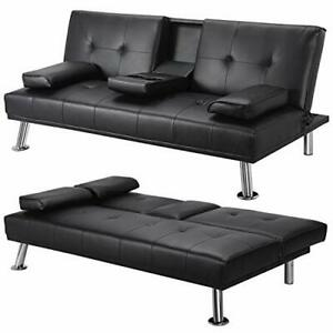 Yaheetech Click Clack Sofa Bed Faux Leather 3 Seater Sofa Couch Living
