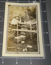 Coffee Tin Man Picnic Lunch Outside Meal Time Food Art Deco Border Vintage PHOTO