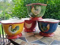 SET OF FOUR Susan Winget Certified International Patchwork Rooster Bowls