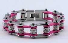 Ladies Stainless Steel W Double Crystals Biker Chain Bracelet Silver/Pink