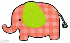 "3"" Jungle safari elephant zoo orange & green animal fabric applique iron on"