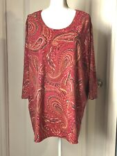 Catherines Red Paisley 3/4 Sleeve Tunic Top 3X.