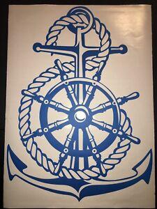 "NEW 24"" x 17"" Blue Nautical Ship Wheel Rope Anchor Vinyl Wall Tile Car Decal"