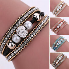 Women's Magnetic Clasp Multilayer Leather Bracelet Crystal Beaded Wrist Band