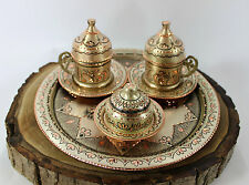 Totally Handmade Copper Turkish Coffee&Espresso Serving Set,Tray HANDCRAFTED