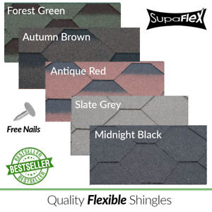 Roofing Felt Shingles | Shed Roof Felt Tiles | Hexagonal | 3 Tab