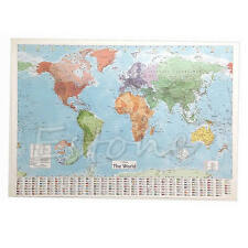 Wall MAP OF THE WORLD Chart Political Flags Home Decor Art World Map Poster Gift