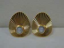 RETRO 14K YELLOW GOLD .50 CT NATURAL STAR SAPPHIRE EARRINGS~VINTAGE 7.6 GRAMS
