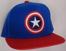 Hat Cap Marvel Comics Captain America Shield Logo Flat Bill Blue Red CC