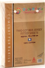 Boys & Girls Next To Me Crib Fitted Sheets Cotton Jersey 51cm x 85cm Pack of 2