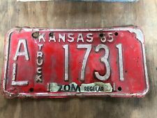 1965 Kansas License Plate 1731 Allen County Original Midway USA Plates 65