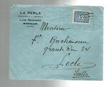 1914 Medellin Colombia cover to Locle Switzerland La Perla Joyeria
