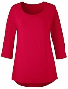 ANTHOLOGY JD Williams Red Lace Crochet 3/4 Sleeve Top Size 16 BNWOT