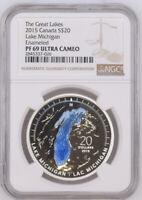 2015 S$20 Canada Silver Lake Michigan NGC PF69