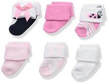Luvable Friends Baby Newborn Terry Socks 6-Pack, Ladybug, 0-3 Months
