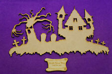 Halloween Scary Haunted House 240x160mm Craft Embellishment MDF Laser cut wooden
