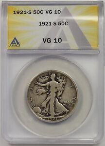 1921-S Walking Liberty Half Dollar Silver 50C VG 10 ANACS