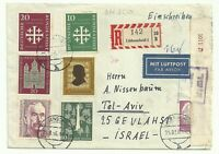 Germany Old Airmail Registered Cover sent to  Israel 1956 Great Franking Censor