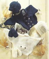"Baby Knitting Pattern DK Jacket Hat Mitts 16-22""  Girls Boys Double Knitting 233"