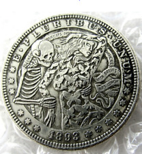 1893 Dancing with Death Woman Dollar skull zombie skeleton Creative Casted Coins