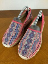 J. Crew Pink Flat Shoes Womens Sz 9 M Slip On Canvas Textile Woven Espadrille